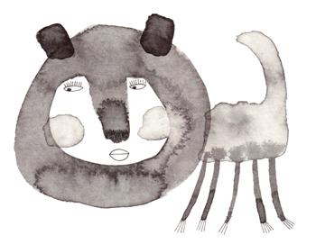 Jacinthe Chevalier encre de chine animal lavis