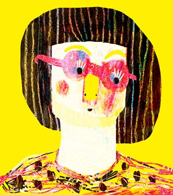 Jacinthe Chevalier dessin jaune carole fille femme lunette