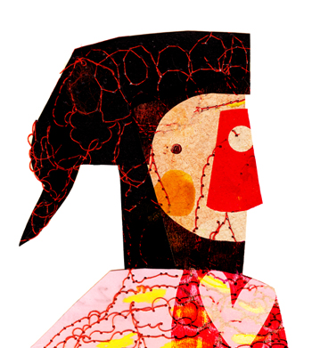 Jacinthe Chevalier collage bonhomme personnage rouge rose couleurs beau numérique fil couture