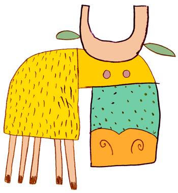 Jacinthe Chevalier animal feuille jaune vert vache boeuf