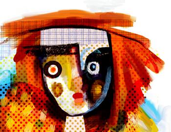 Jacinthe Chevalier visage personnage clown couleur