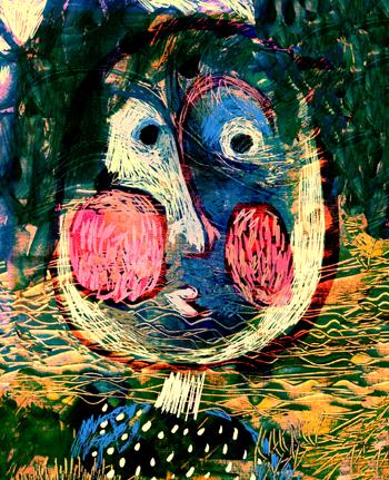 Jacinthe Chevalier personnage fille woman girl painting montage photoshop bleu blue vagues jaune