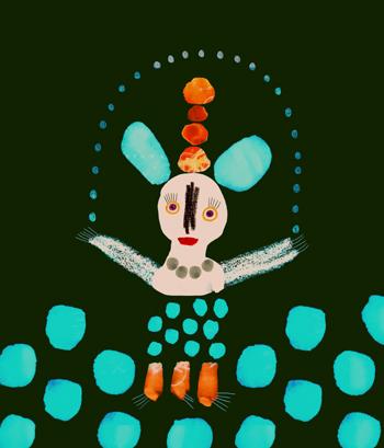 Jacinthe Chevalier animal souris mouse noir turquoise dessin peinture digitale neige guirlande joie beau wow