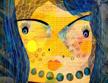 Jacinthe Chevalier visage couleurs nez bouche collage numérique femme fille woman cheveux