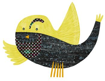 Jacinthe Chevalier animal oiseau bird jaune yellow fist poisson