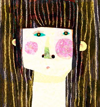 Jacinthe Chevalier fille girl cheveux hair noir personnage visage face