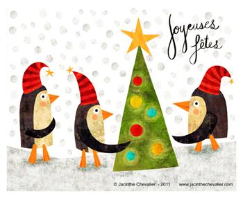 Jacinthe Chevalier noël noel christmas bonne année 2011 pingouin sapin boules jeu neige froid