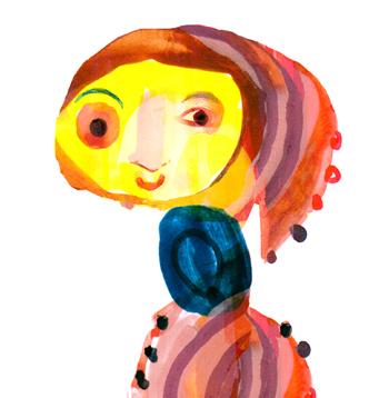 Jacinthe Chevalier dame écharpe bleue personnage jaune gouache peinture paint