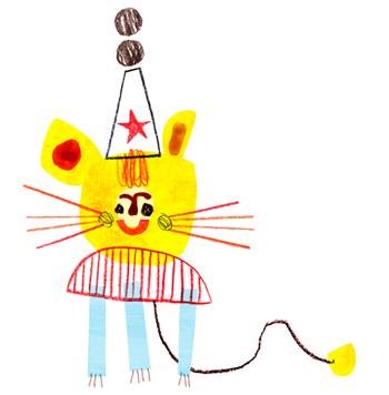 Jacinthe Chevalier birthday fête lion ourson dessin jaune chapeau queue